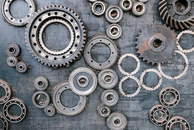 Mecanismo, engrenagens e engrenagens no trabalho. maquinaria industrial