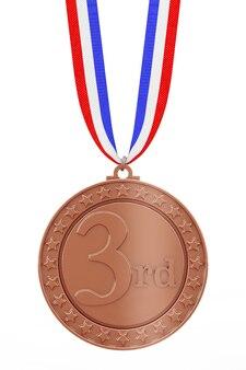 Medalha de vencedores do terceiro lugar de bronze com fita em um fundo branco. renderização 3d