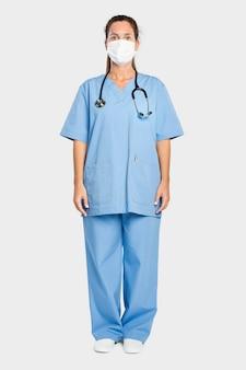 Médica com um vestido azul de corpo inteiro