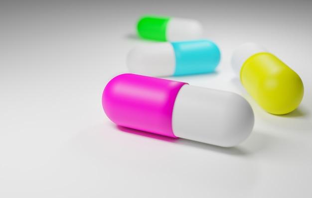 Medicamento em cápsulas coloridas em fundo branco, renderização de ilustração 3d