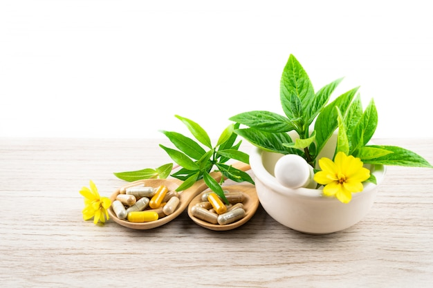 Medicina alternativa à base de plantas, vitaminas e suplementos de cápsulas naturais