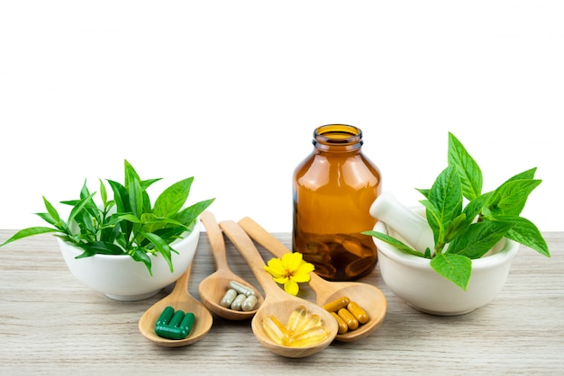 Medicina alternativa, comprimidos, cápsulas e suplementos orgânicos vitamínicos