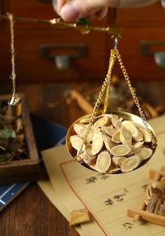 Medicina tradicional chinesa à base de ervas na balança romana a tradução pode ser traduzida como fitoterapia chinesa