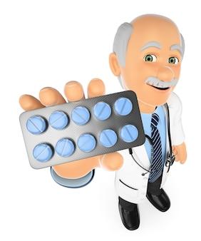 Médico 3d com um tablet de comprimidos. medicamentos