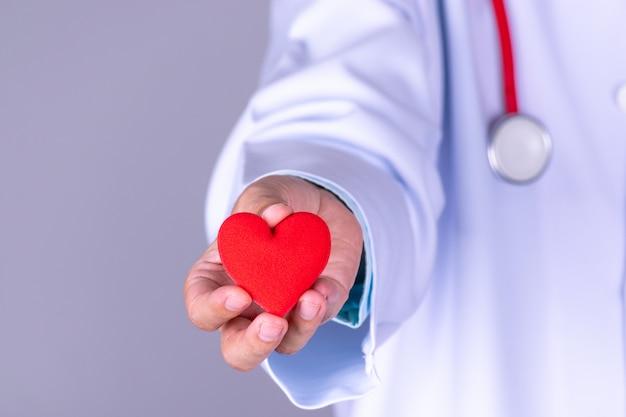 Médico cardiologista segurando coração vermelho no hospital