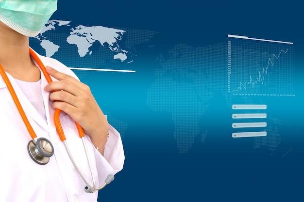 Médico com estetoscópio e fundo tela virtual