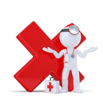 Médico com marca de seleção vermelha brilhante