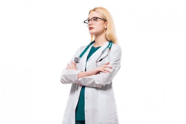 Médico da mulher com estetoscópio