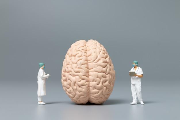 Médico e enfermeiro em miniatura observando e discutindo sobre o cérebro humano, ciência e concepção médica