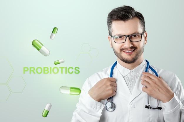 Médico e rotulando probióticos e pílulas