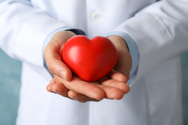 Médico mantém o coração contra a superfície azul, close-up