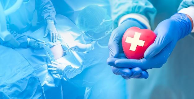 Médico mãos segurando um coração vermelho com eletrocardiograma, o conceito de cuidados de saúde.