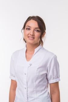 Médico médico médico mulher sobre branco