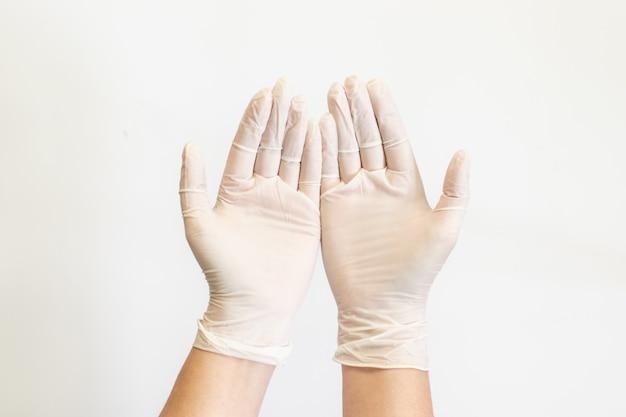 Médico ou enfermeira mão humana mostrando o gesto