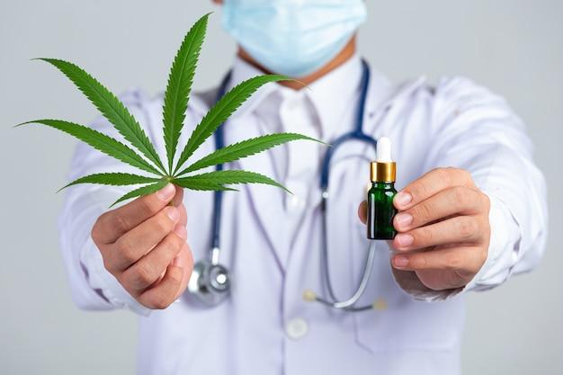 Médico segurando a folha de cannabis e uma garrafa de óleo de cannabis na parede branca.