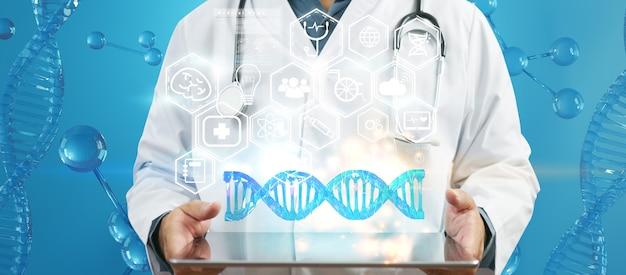 Médico usando tablet e análise genética de dna de cromossomo humano na interface virtual. conceito de ciência médica, ilustração 3d