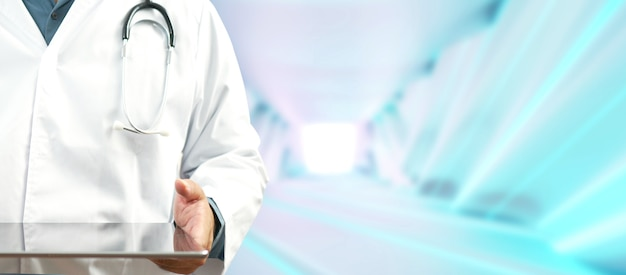 Médico usando um tablet digital. cuidados de saúde e conexão de rede no tablet, tecnologia médica e conceito de rede.
