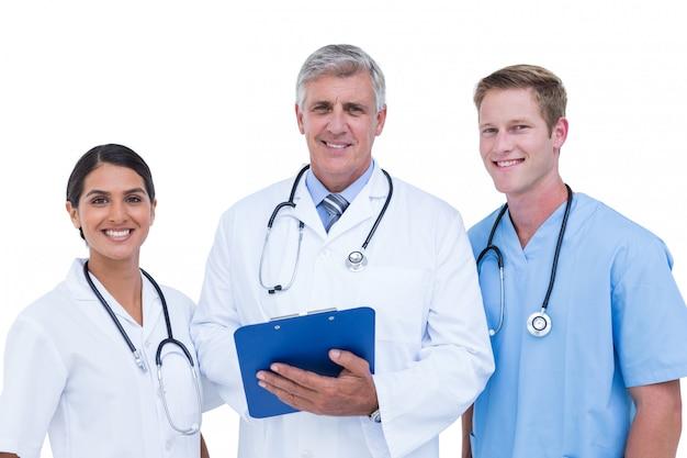 Médicos, e, enfermeira, discutir, sobre, notas