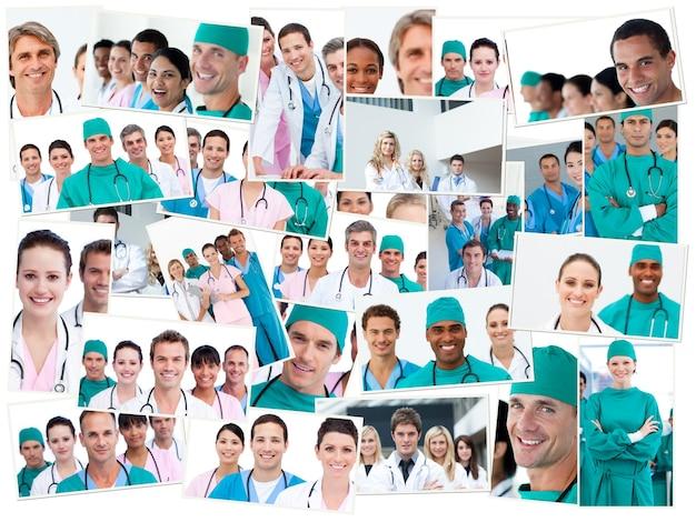 Médicos, enfermeiros e cirurgiões que levantam