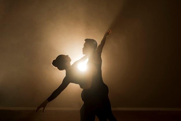 Médio, tiro, balé, dançarinos, par