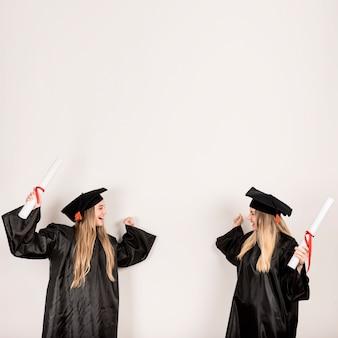 Médio, tiro, graduados, olhar, um ao outro