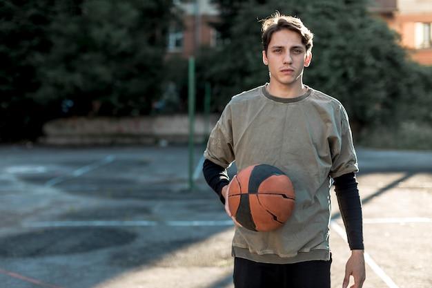 Médio, tiro, urbano, basquetebol, jogador
