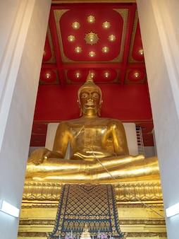 Meditação da grande estátua de buda dourado dentro da capela de wihan phra mongkhon bophit em wat phra si sanphet, ayutthaya, tailândia.