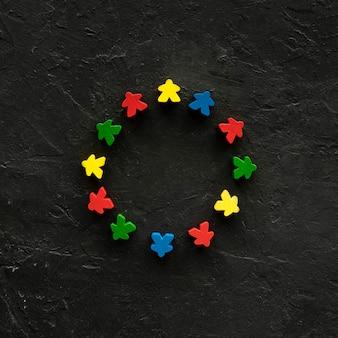 Meeple peças de jogos de tabuleiro em forma de círculo