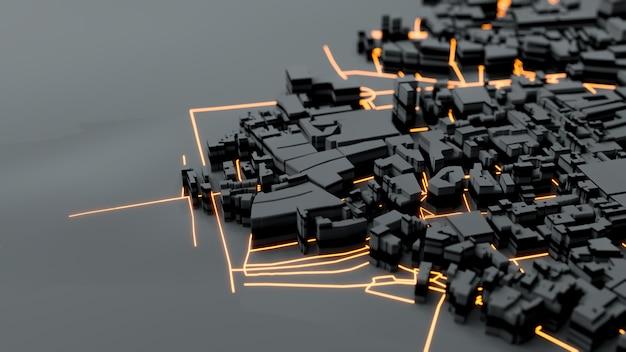 Mega cidade techno, renderização em 3d