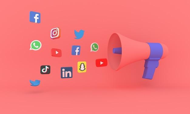 Megafone 3d com ícones de mídia social marketing digital e conceito de comércio eletrônico de compras online