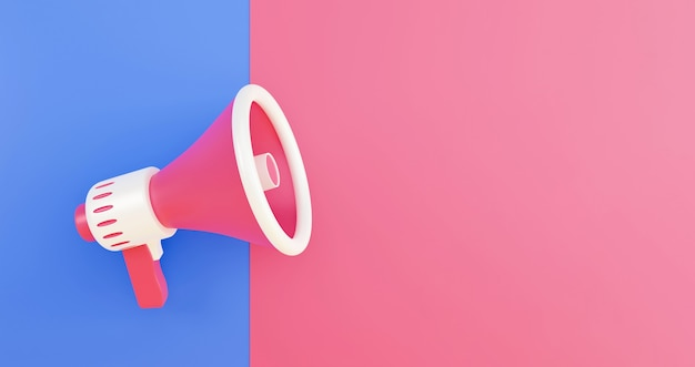 Megafone 3d realista, conceito mínimo de alto-falante. megafone em fundo azul e rosa. ilustração 3d render