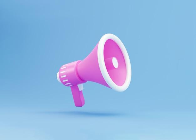 Megafone 3d realista, conceito mínimo de alto-falante. megafone sobre fundo azul. ilustração 3d render