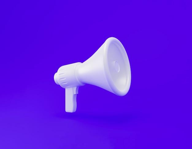 Megafone de plástico branco realista 3d com espaço de sombra e cópia isolado sobre fundo azul. tempo de marketing. idéia de anúncio. concept.3d render ilustração.