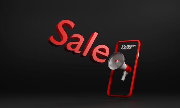 Megafone de venda do festival black friday e promoção de campanha para celular comprando em fundo preto