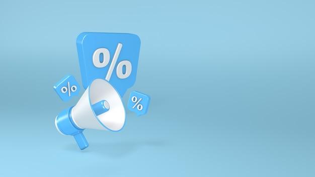 Megafone em um fundo azul símbolo de porcentagem ilustração 3d renderização 3d renderização em 3d