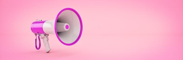 Megafone isolado atenção conceito anúncio renderização em 3d