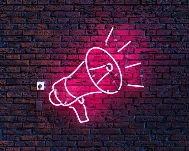 Megafone neon na parede de tijolos