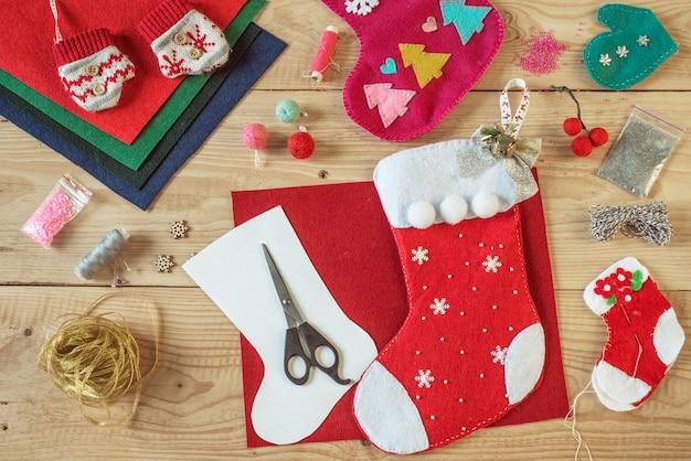 Meia de natal diy, materiais de artesanato de natal para costura meia de feltro de natal