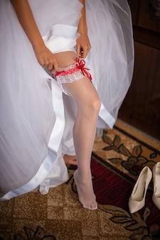 Meias de vestido de noiva.