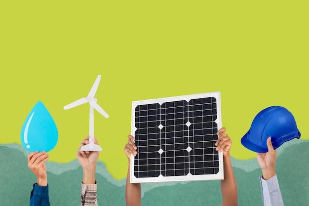 Meio ambiente de energia renovável psd painel solar remixado mídia