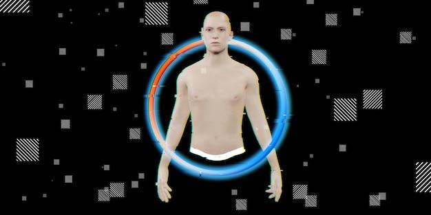 Meio homem robô ai concept era digital fundo preto ilustração 3d