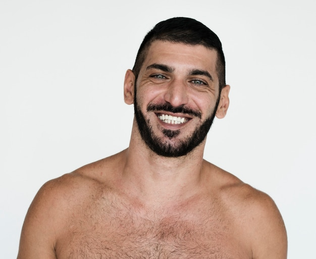 Meio oriental, homem, sorrindo, felicidade, peito nu, estúdio, retrato