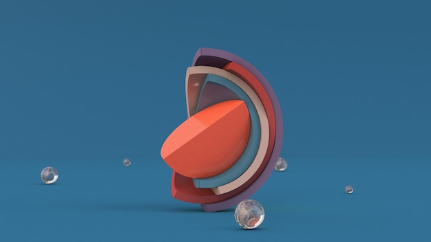 Meios hemisférios, formas geométricas coloridas brilhantes. ilustração abstrata, renderização em 3d.
