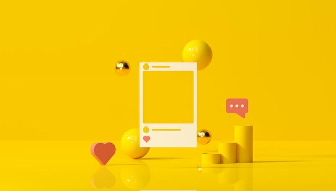 Meios sociais com moldura da foto do instagram e formas geométricas na ilustração amarela do fundo.