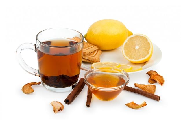 Mel, limão e gengibre tônica e ingridients close-up