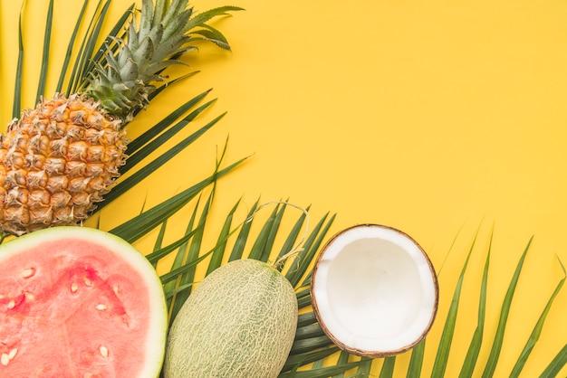 Melancia, melão, abacaxi, coco, e, folhas