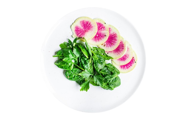 Melancia rabanete salada fresca daikon chinês fatias keto ou dieta paleo