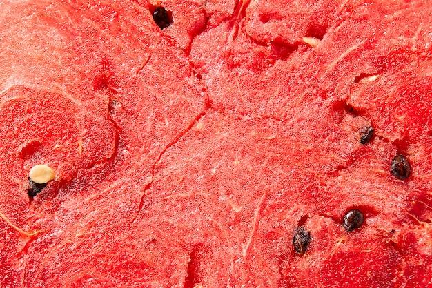 Melancia suculenta, madura, doce ... abstrata vermelha melancia fresca detalhada textura de fundo.