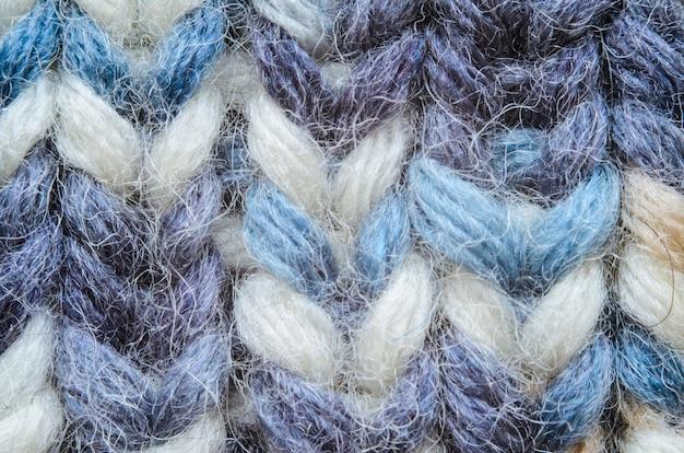 Melange azul tricô textura close-up