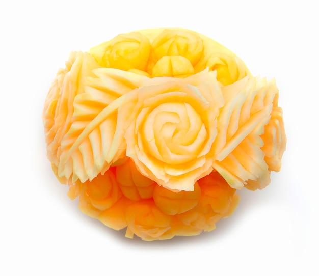 Melão, melão fruta para o verão refrescante e saudável decorado com melão esculpido